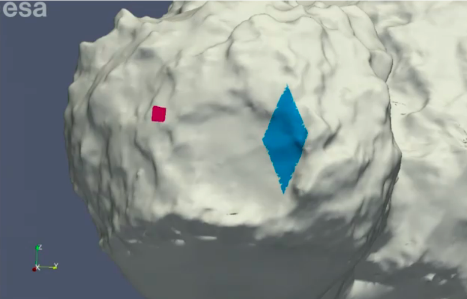 The original landing site is shown in red. Philae bounced across the crater to somewhere within the blue diamond.