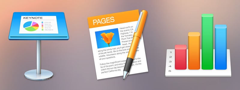 The iWork '14 icons (Keynote 6.5, Pages 5.5, and Numbers 3.5) on a blurry Yosemite background.