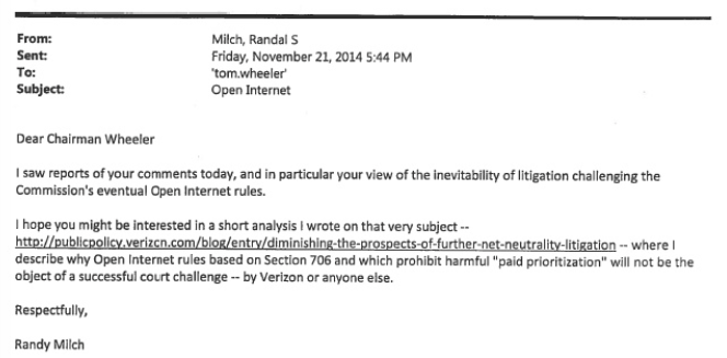Milch's e-mail to Wheeler.