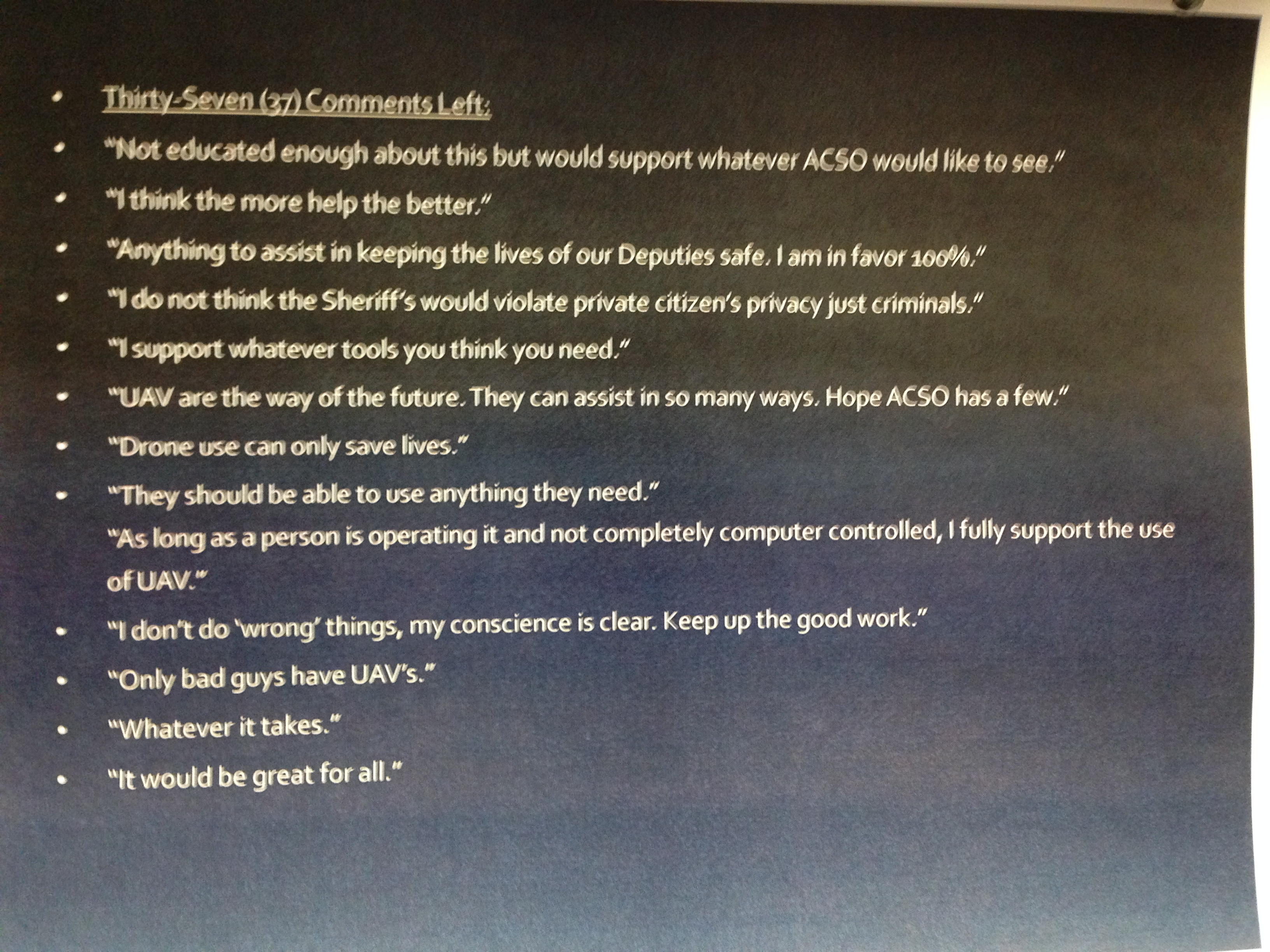 Drone supporters left some comments at an ACSO event in September 2014.
