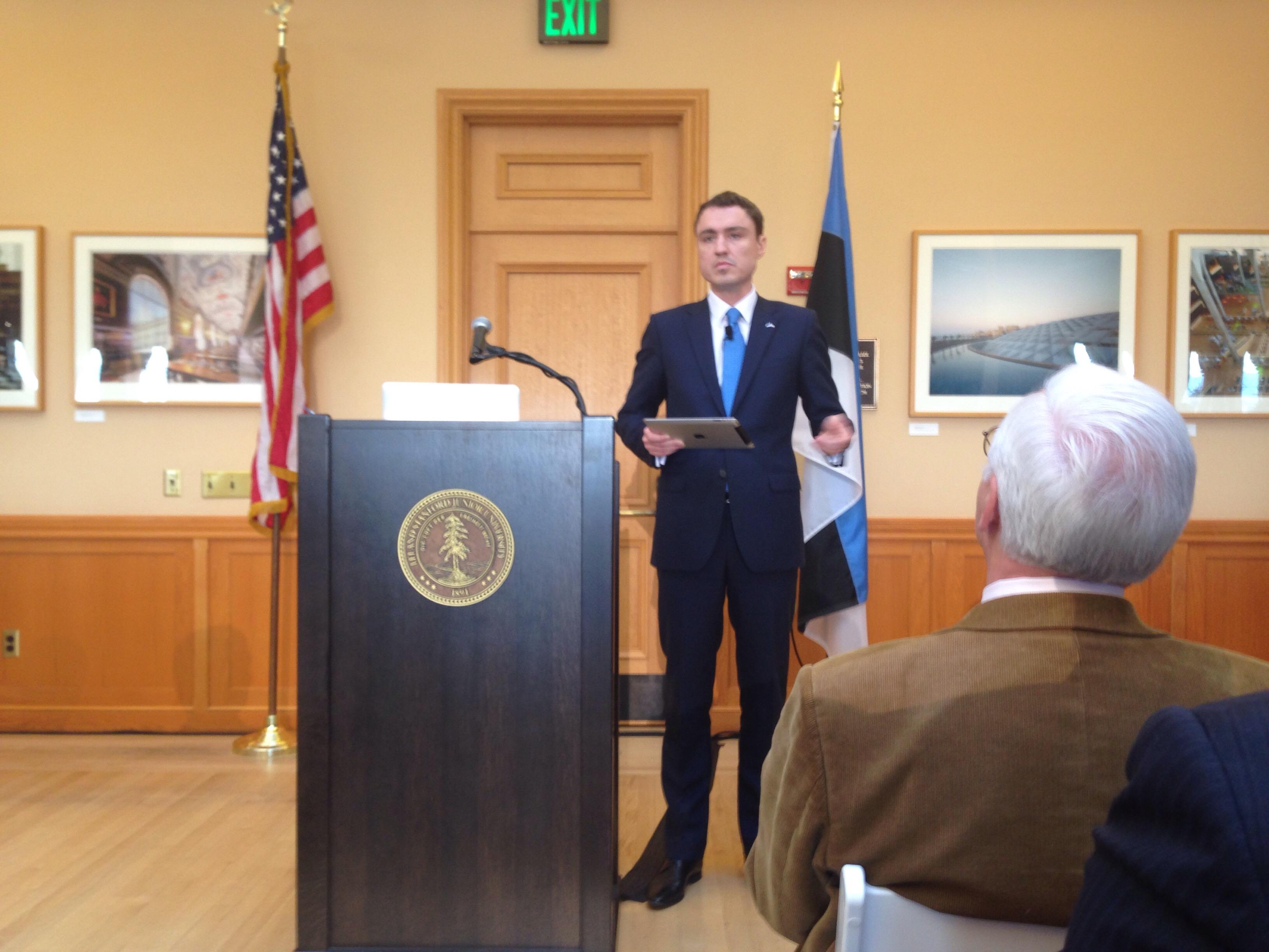 Estonian Prime Minister Taavi Rõivas spoke at Stanford University on Monday.