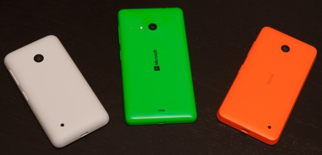 From left to right, the Lumia 530, 535, and 630/635. The familial resemblance is pretty strong.