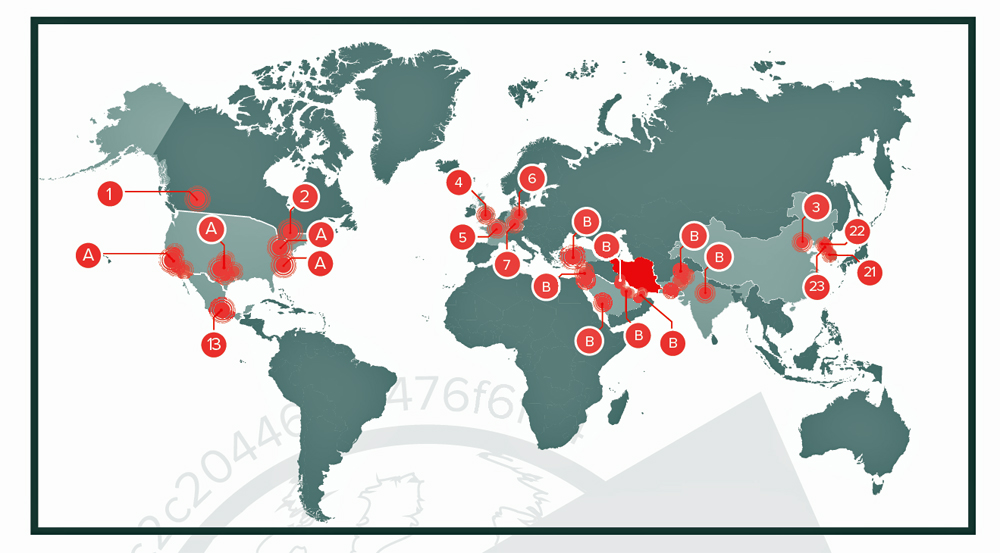 Critical networks in US, 15 other nations, completely owned, possibly by Iran