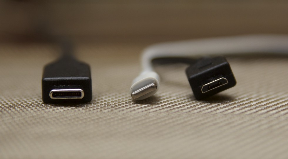 USB Type-C (left) is larger than Lightning (center) or micro USB (right), but the increased size and sturdiness will make it a better replacement for the ports it wants to supplant.