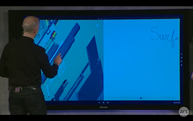 Microsoft Surface Hub in action.
