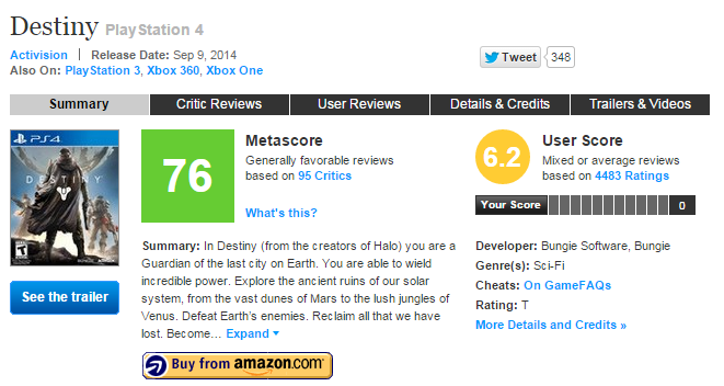 "Metacritic's ""score of scores"" is an essential summary for many gamers, and has effects far outside the review aggregation site."
