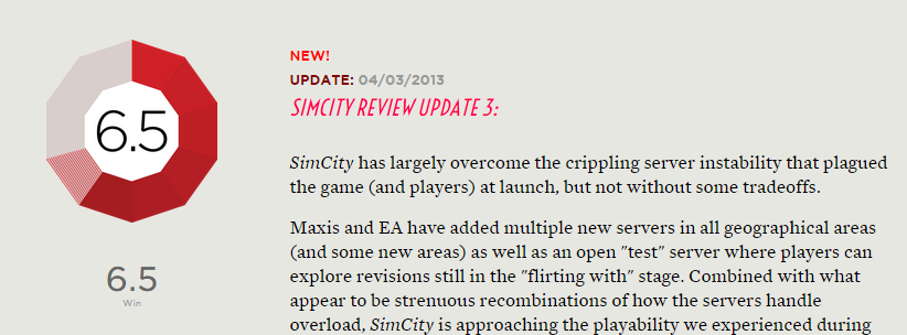 After starting at a 9.5, Polygon's <i>SimCity</i> review score currently sits at 6.5 after three updates.