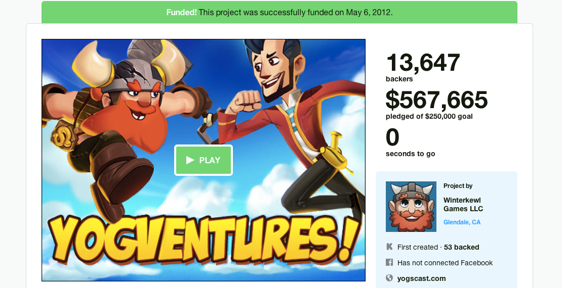 Over 13,000 backers ended up with nothing but disappointment for backing <i>Yogventures</i>. The developers, on the other hand, ended up with the money.