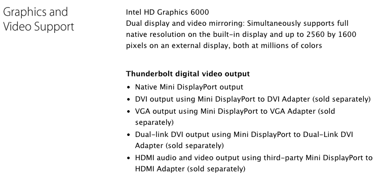 Apple's support page the new MacBook Air doesn't support 4K, but rest assured: it does.