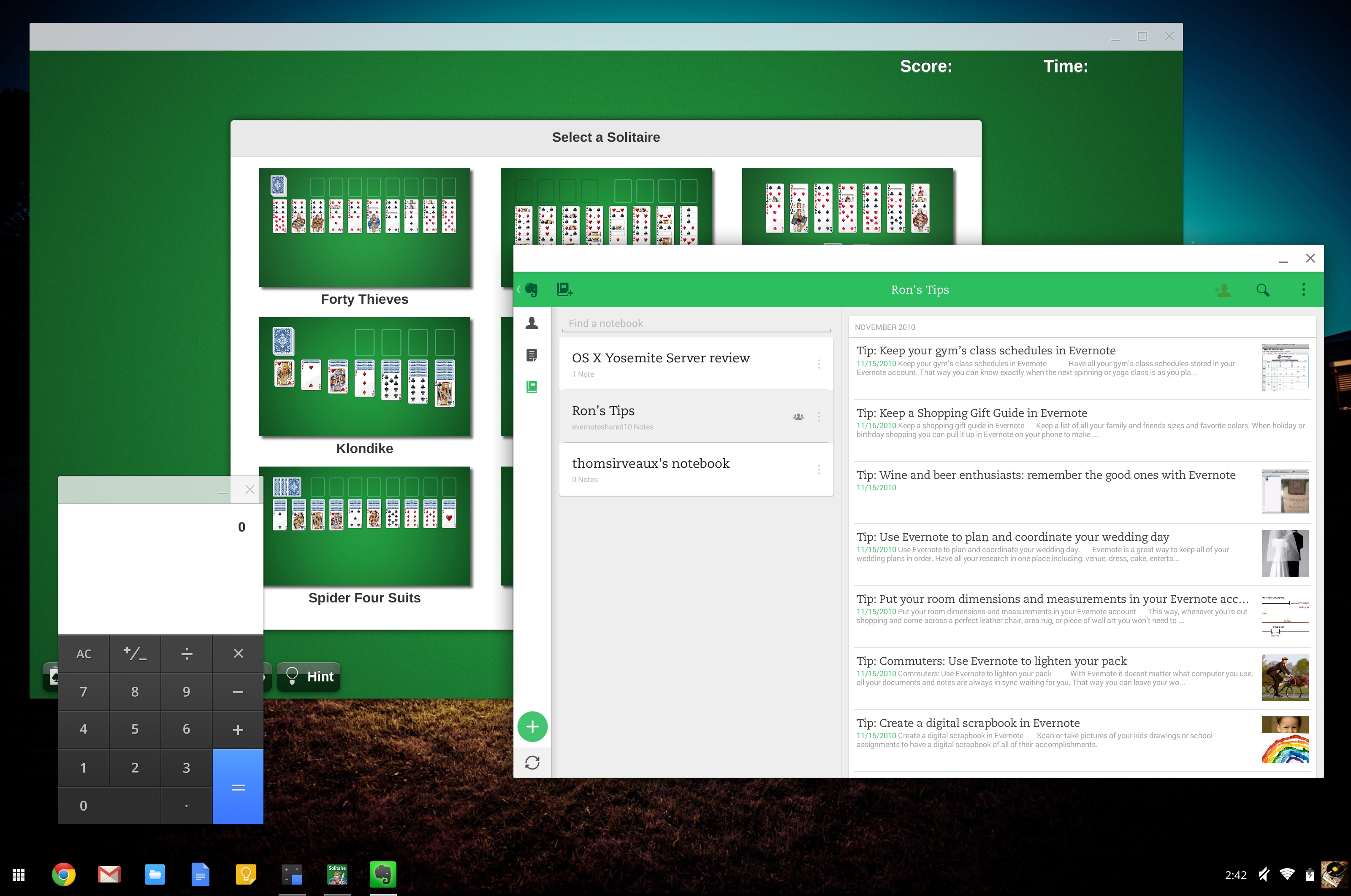 Chrome Apps (the calculator, Solitaire) and the Android App Runtime for Chrome (Evernote) are different solutions to Chrome OS' app gap.