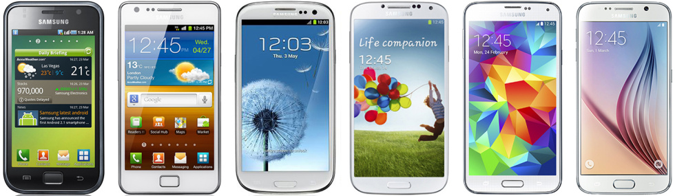 The Galaxy S 1 through 6 (not to scale). Samsung's phone design hasn't changed much over the years.