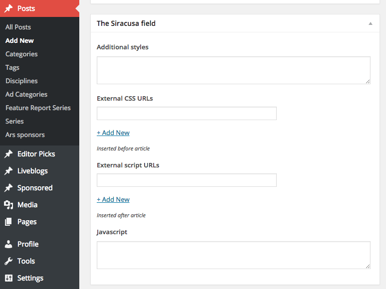 Standard WordPress cannot handle a Siracusa review. You must have custom fields.