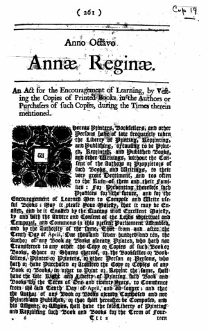 The 1710 Statute of Anne set copyright's term at 14 years.