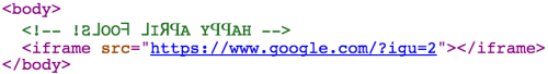 HTML code allowed com.google to use an iframe to display a backwards search page from google.com.