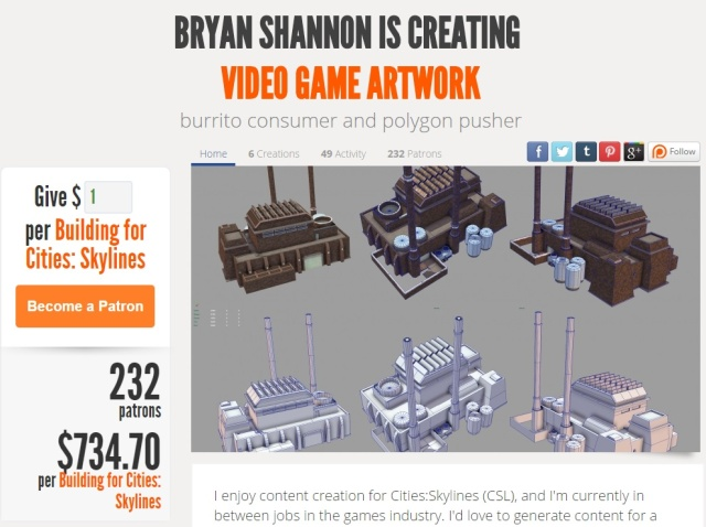 More than 230 strangers are currently paying Shannon to make cool stuff for the entire <i>Cities: Skylines</i> community.