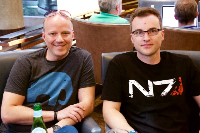 BioWare Creative Director Mac Walters at left and studio head Aaryn Flynn at right.