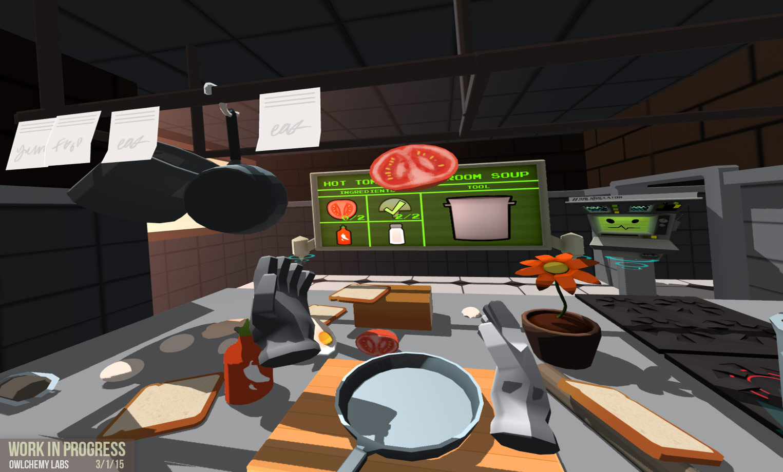 A 2D screenshot of <em>Job Simulator</em> for SteamVR by Owlchemy Labs.