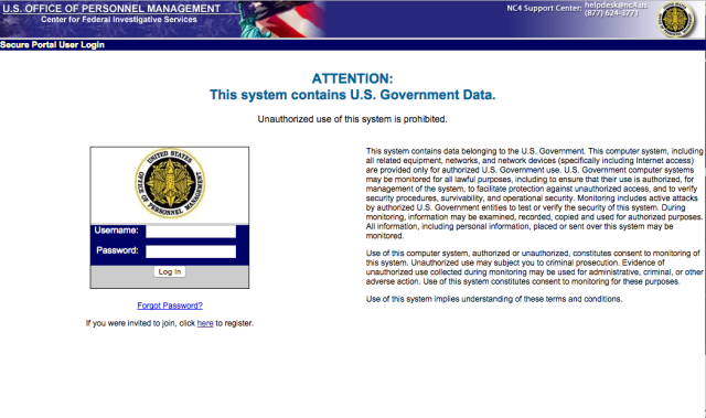 The OPM Federal Investigative Service secure Web portal, powered by the no-longer-supported Adobe JRun.