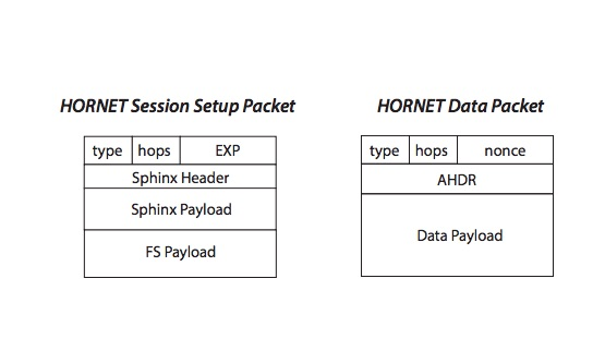 Block diagrams of HORNET's two packet types.