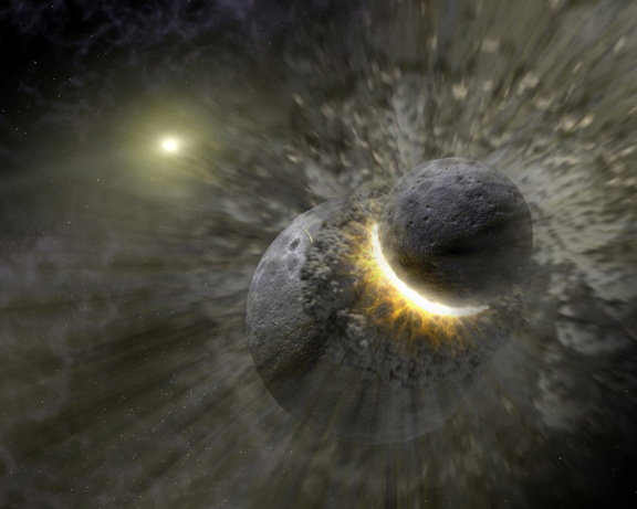 Artist's impression of the collision event that probably formed the Moon.