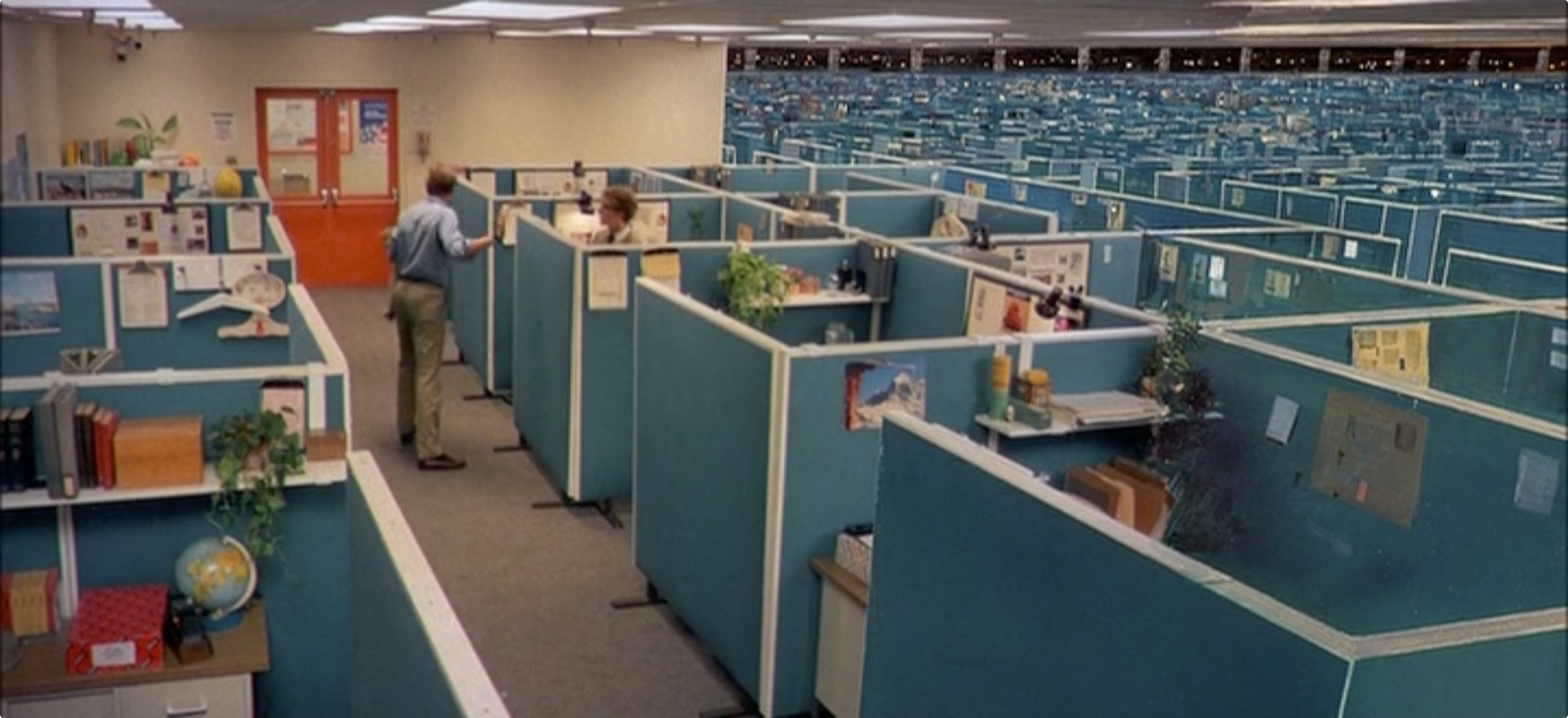 The call center floor looked and felt a lot like this famous matte painting-enhanced shot from <em>Tron</em>.
