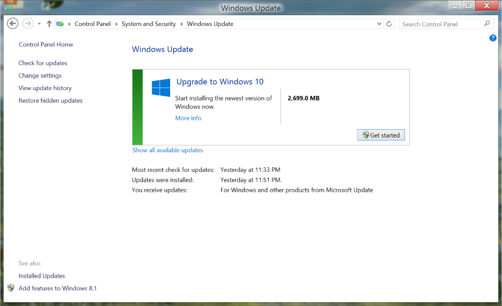 windows 10 is on windows update now the free upgrades
