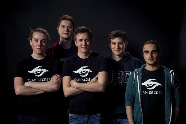 "Team Secret. Left to right: Ludwig ""zai"" Wåhlberg, Clement ""Puppey"" Ivanov, Gustav ""s4"" Magnusson, Artour ""Arteezy"" Babaev, and Kuro ""KuroKy"" Salehi Takhasomi."