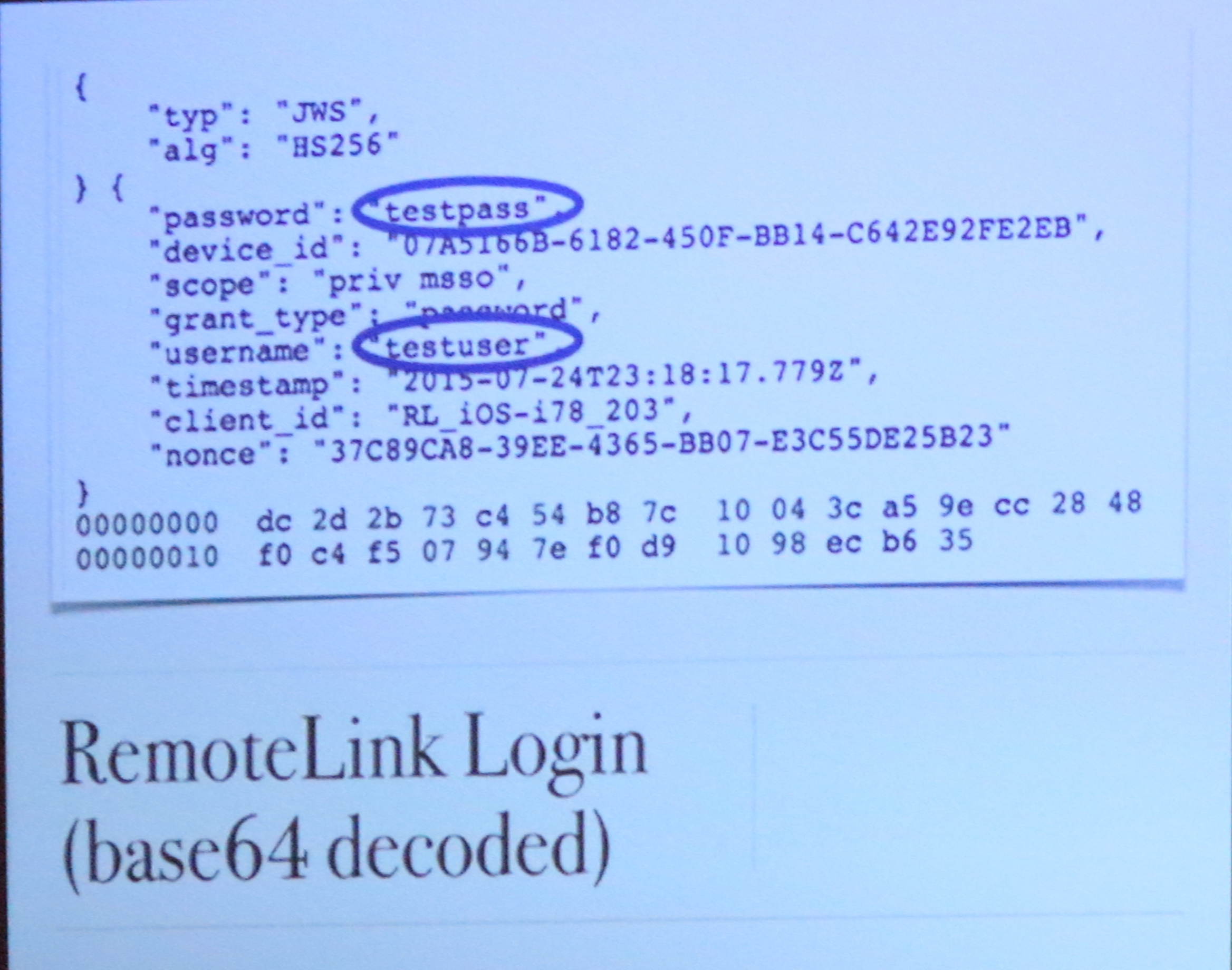 An example of decrypted RemoteLink data captured by OwnStar, from Kamkar's DefCon presentation.