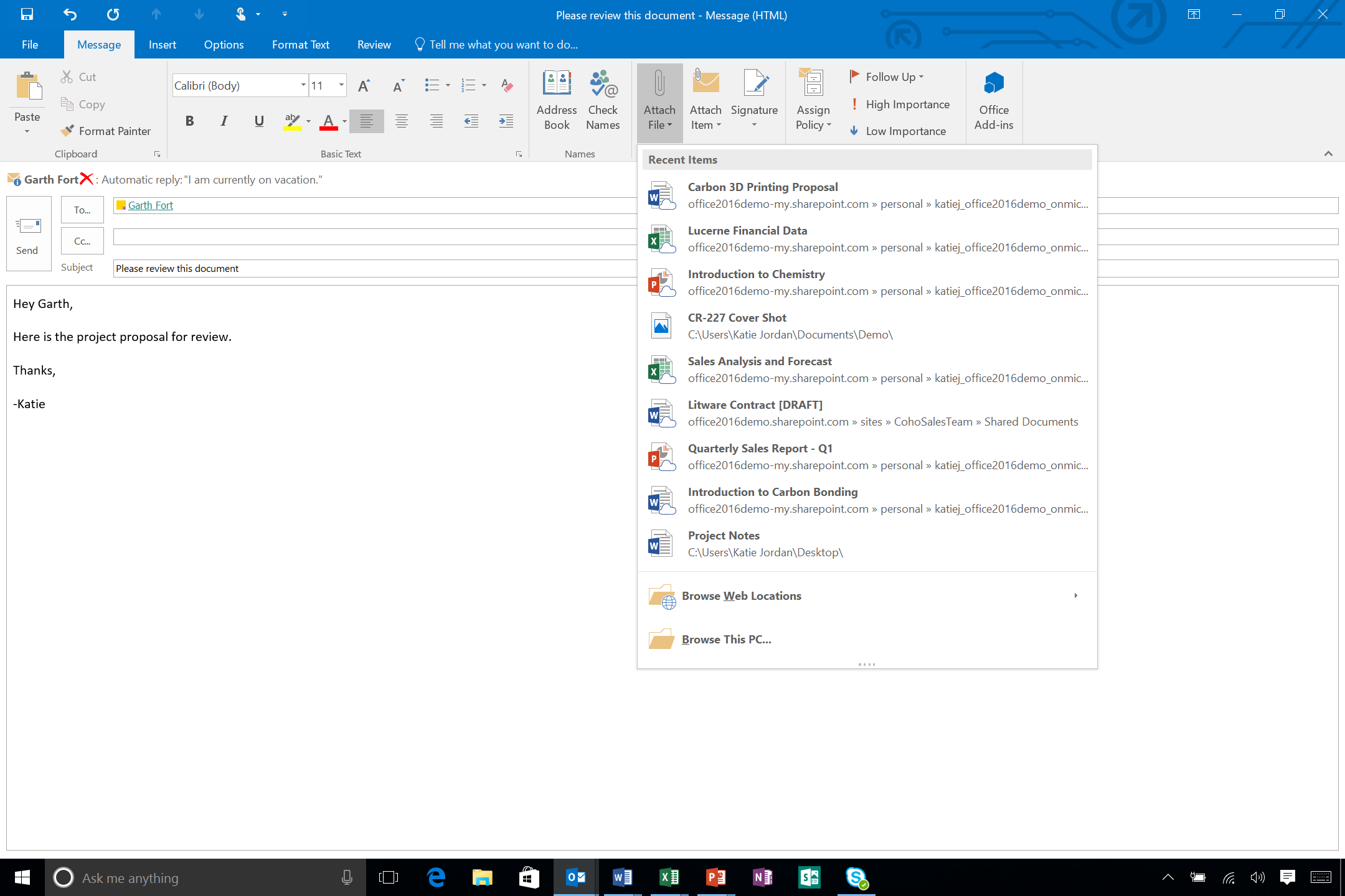 Outlook shows recent documents in its attachments button.