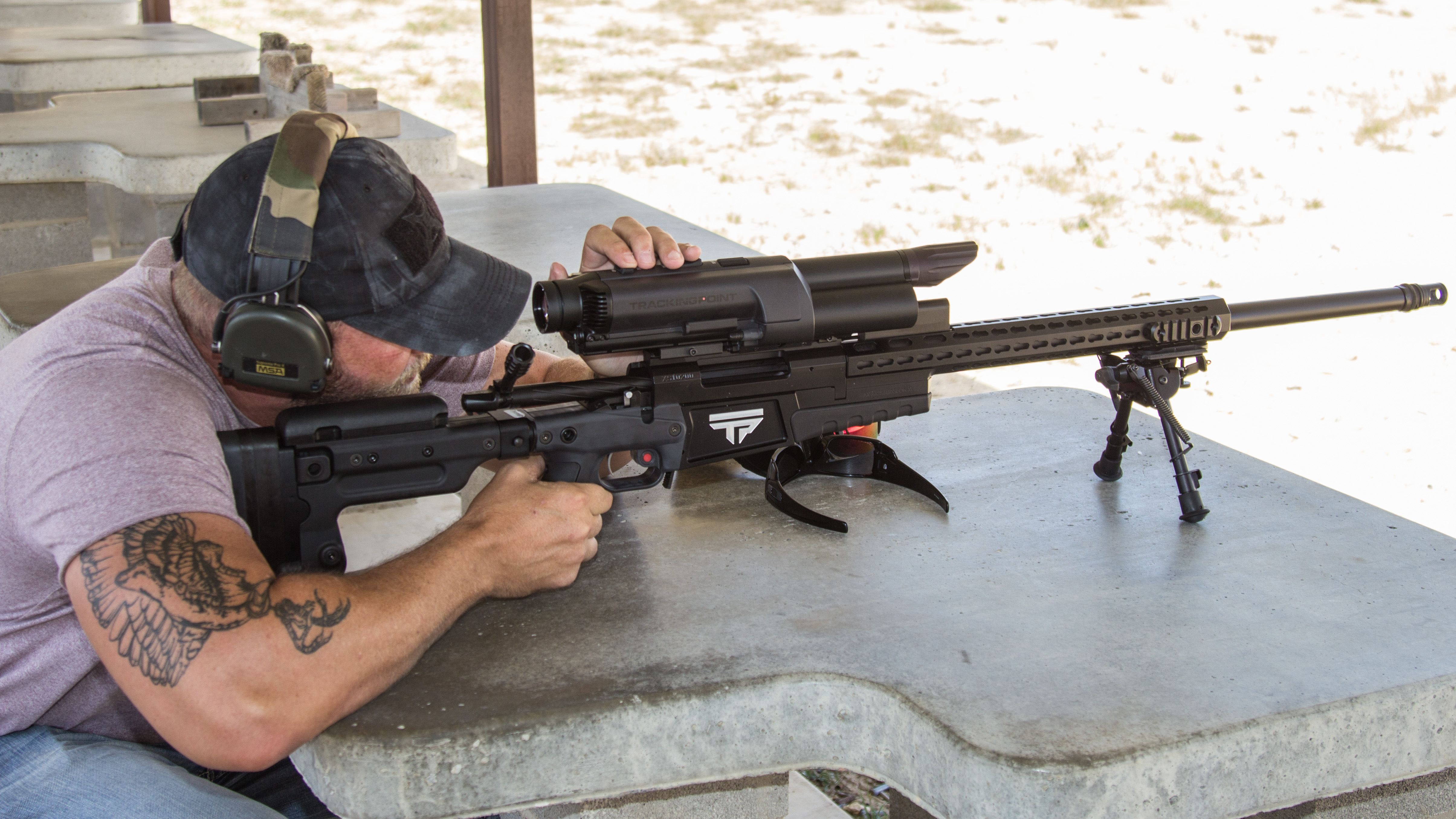 TrackingPoint engineer Anson Gordon sites in on the bolt-action .338LM TrackingPoint rifle.
