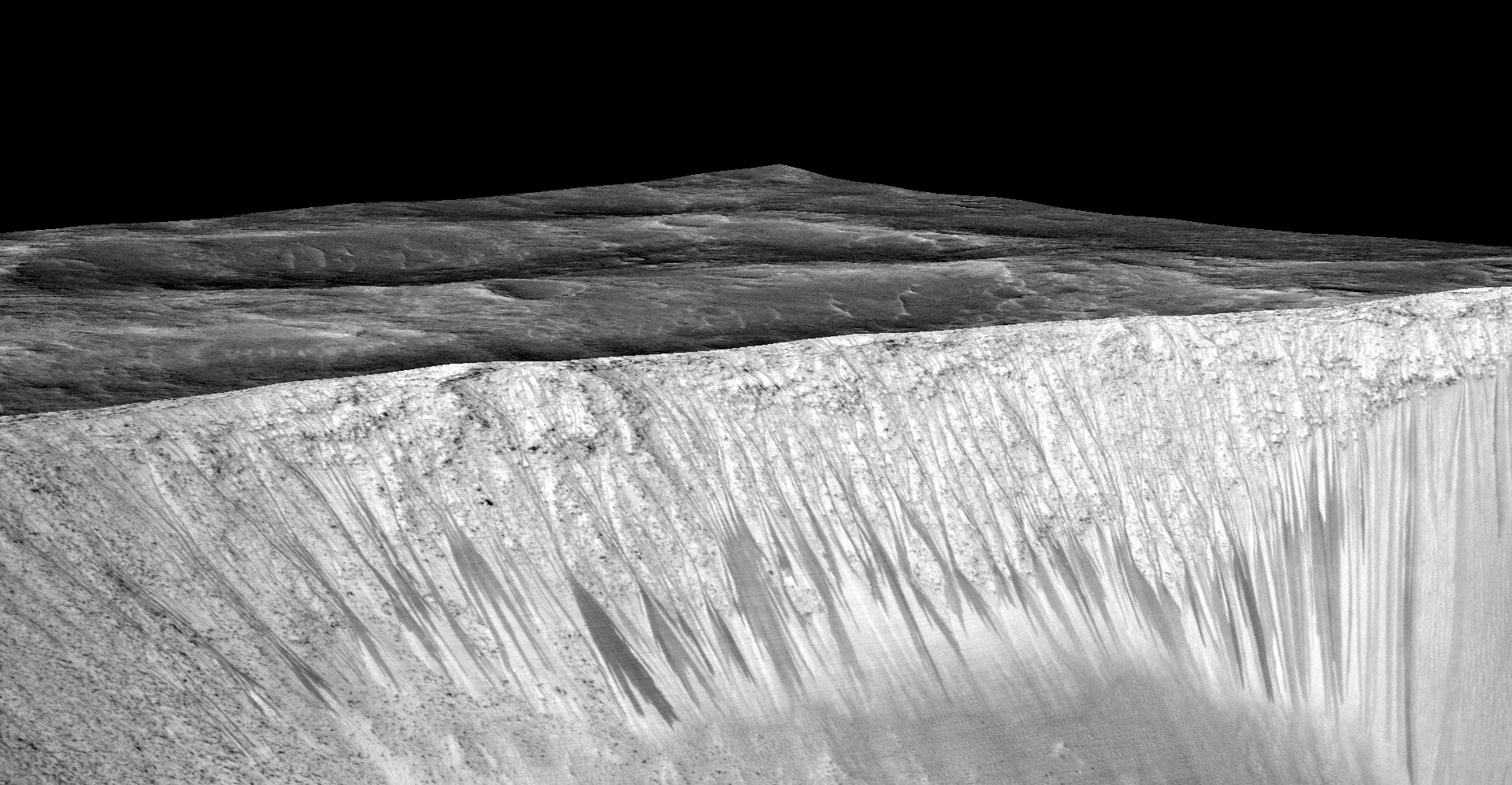 In the Martian summer, the walls of Garni crater are covered in RSL.