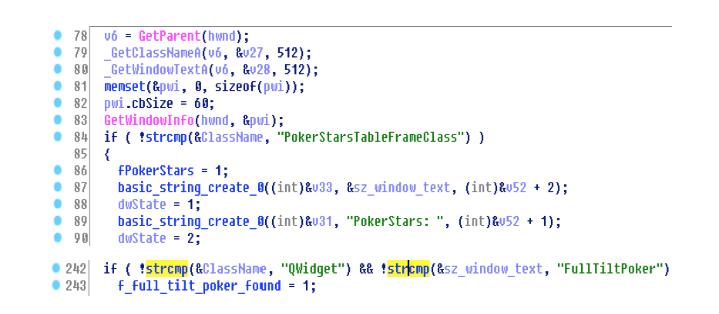 Screenshot from IDA Pro highlights malware code that searches for PokerStars and Full Tilt Poker windows.