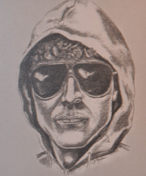 Artist's sketch of the Unabomber from the viewpoint of a witness who saw him plant a bomb in Utah.
