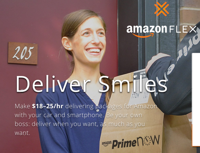 """Amazon Flex will pay you """"$18-25 per hour"""" to deliver Prime Now packages"""