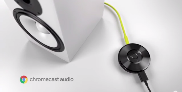 Chromecast Audio, connected to a speaker.
