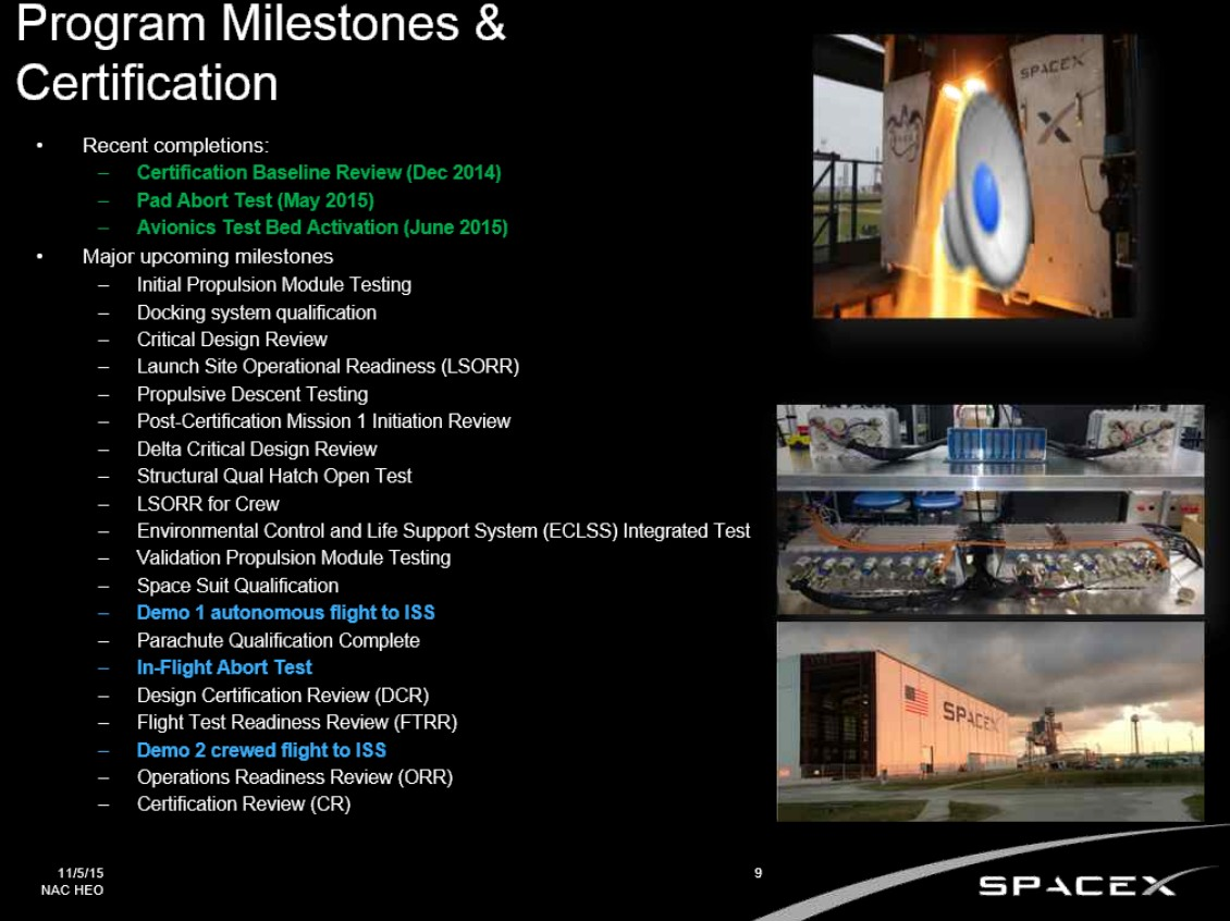 Each company has a litany of milestones to complete before NASA certifies them to fly crew.