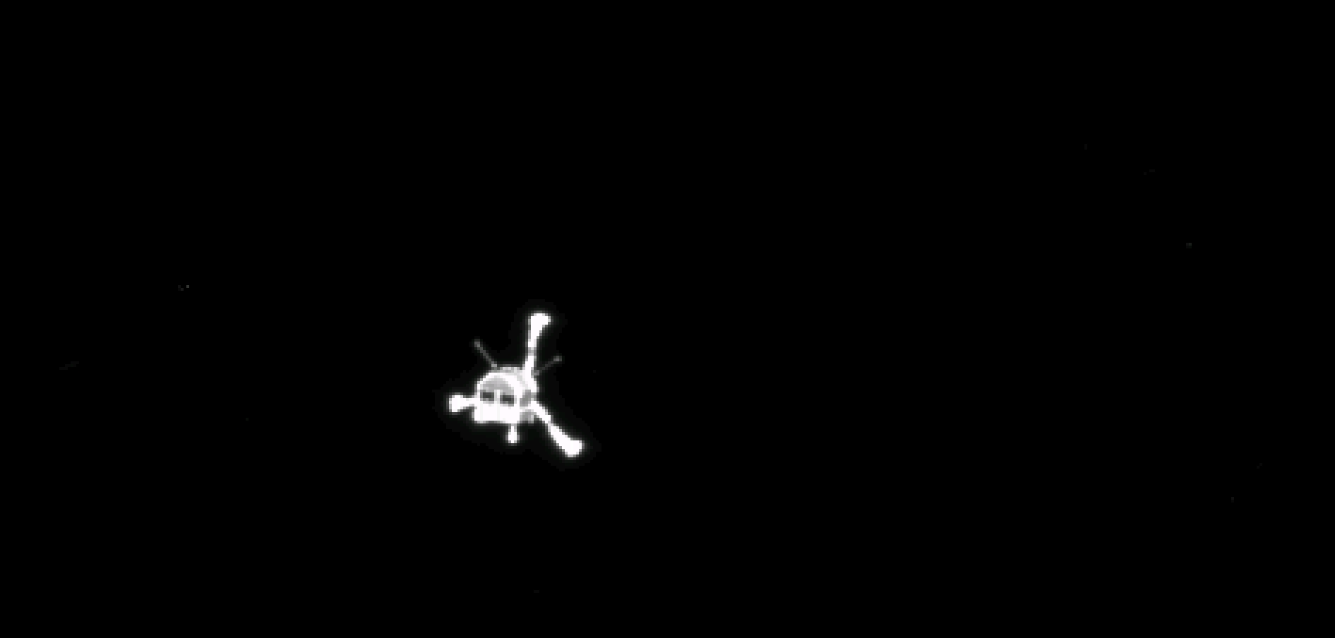 Rosetta's lander, Philae, is imaged shortly following its deployment in November 2014. Philae became the first-ever spacecraft to soft-land upon a comet's surface.