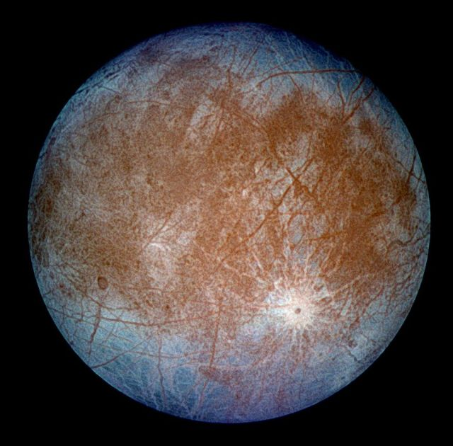 A false-color composite image of Europa taken by the Galileo probe.