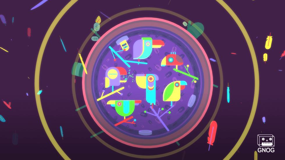 <em>GNOG</em>'s bird puzzle looks particularly cool in VR thanks to so many bird-leaf effects flying around in virtual space.