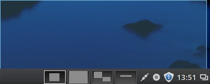 The taskbar's workspace switcher showing a preview of the windows in each workspace.