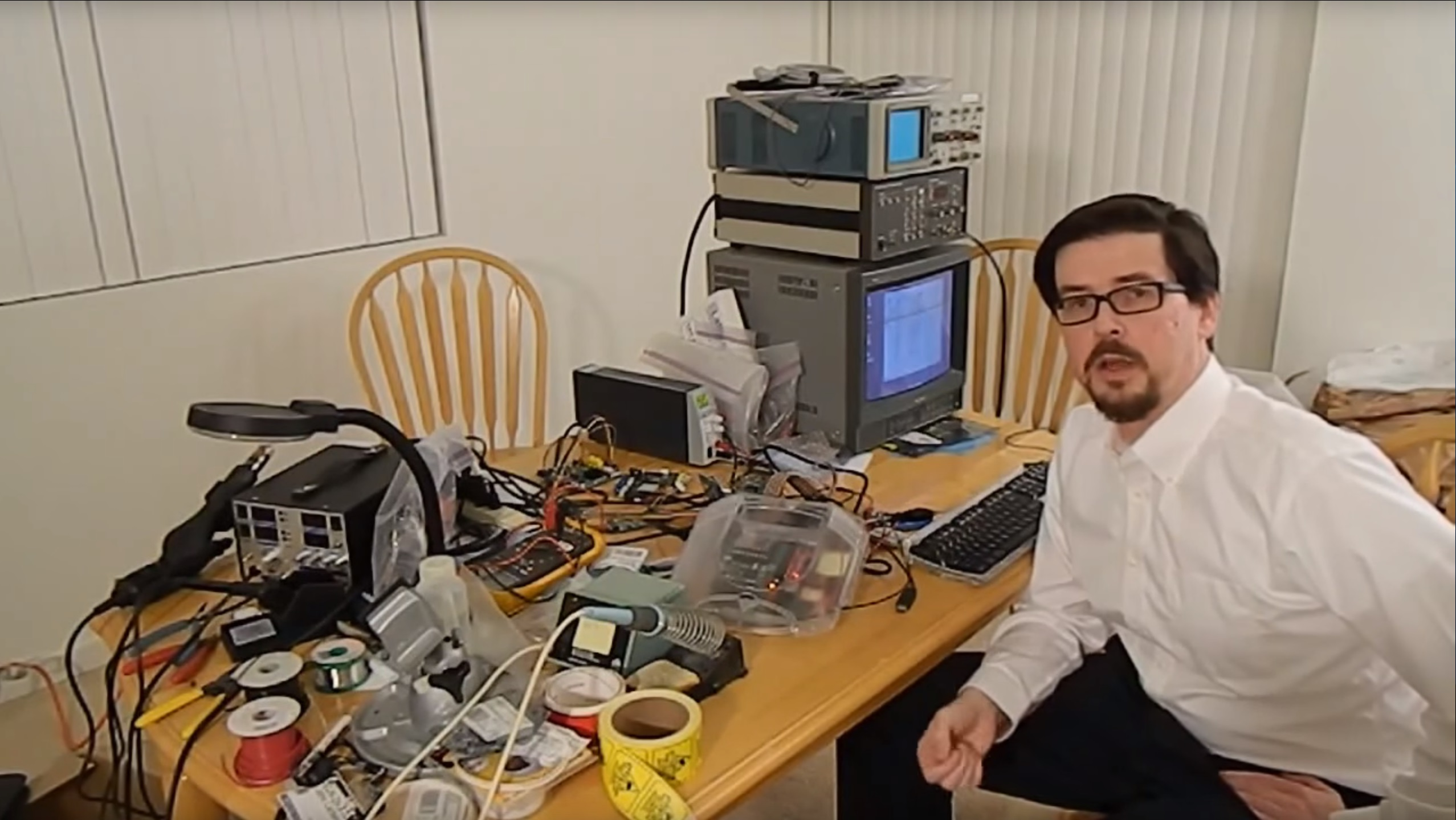 Still from a video showing a barely functional Retro VGS prototype managing to draw power from a wall unit.