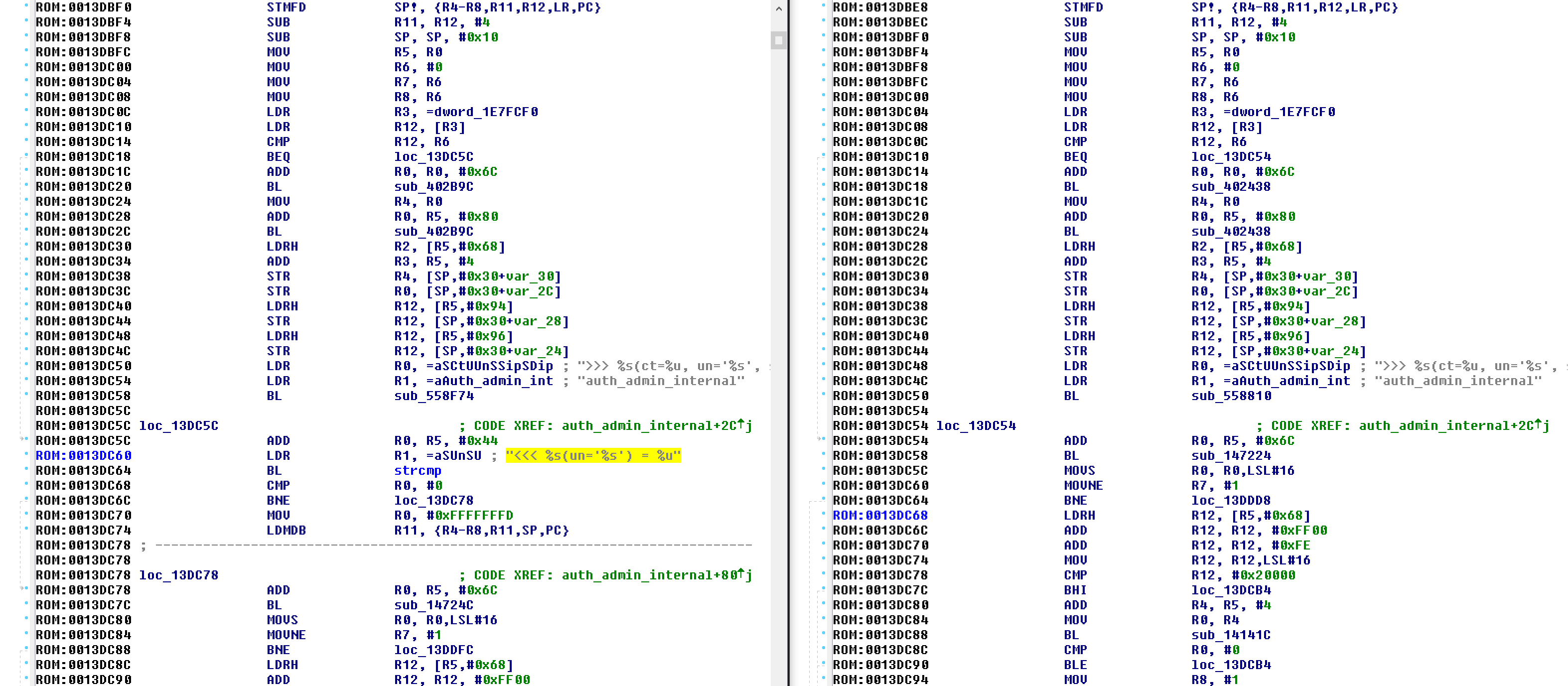 A side-by-side look at the Juniper ScreenOS code, with the backdoored code on the left and unaltered code on the right. The backdoor password is highlighted.
