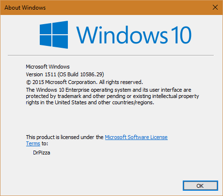 Desktop Windows, running 10586.29.