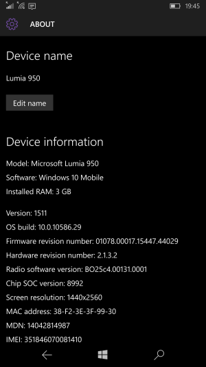 Mobile Windows, running 10586.29.