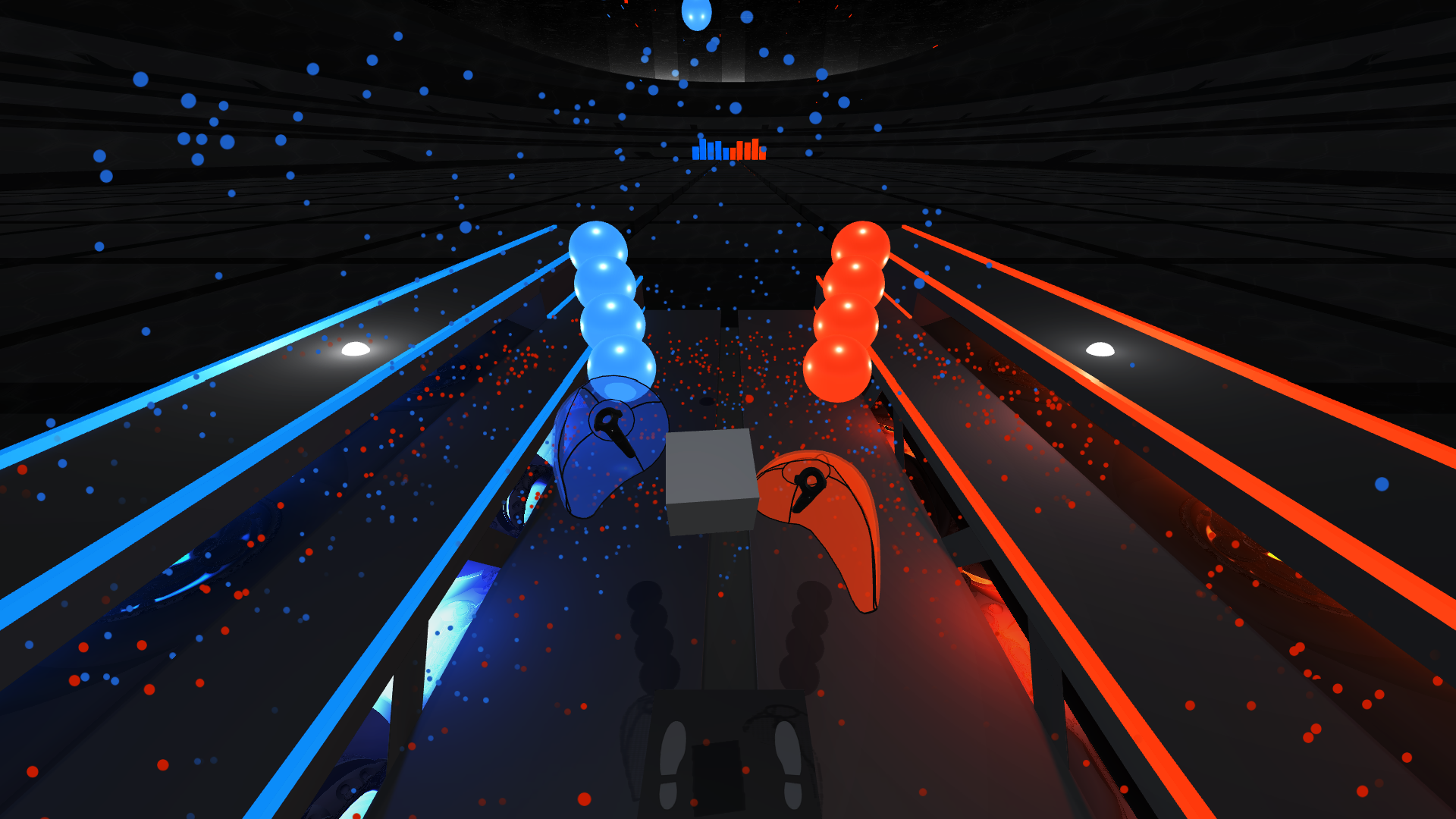 <em>Audioshield</em>'s action is hard to appreciate in screenshot form, but moving those blue and orange shields around with your hands and destroying falling note globes to the beat is really like nothing you've ever seen in a rhythm game before.