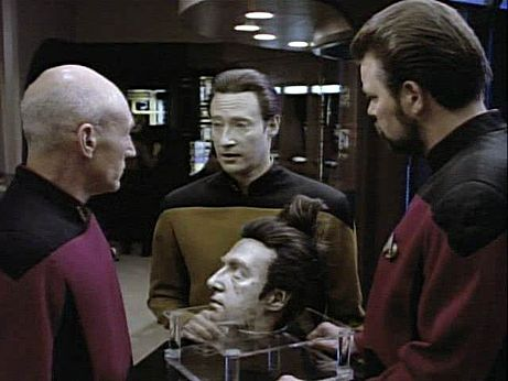 "Data, with the severed, long-buried head of his ""future"" self."