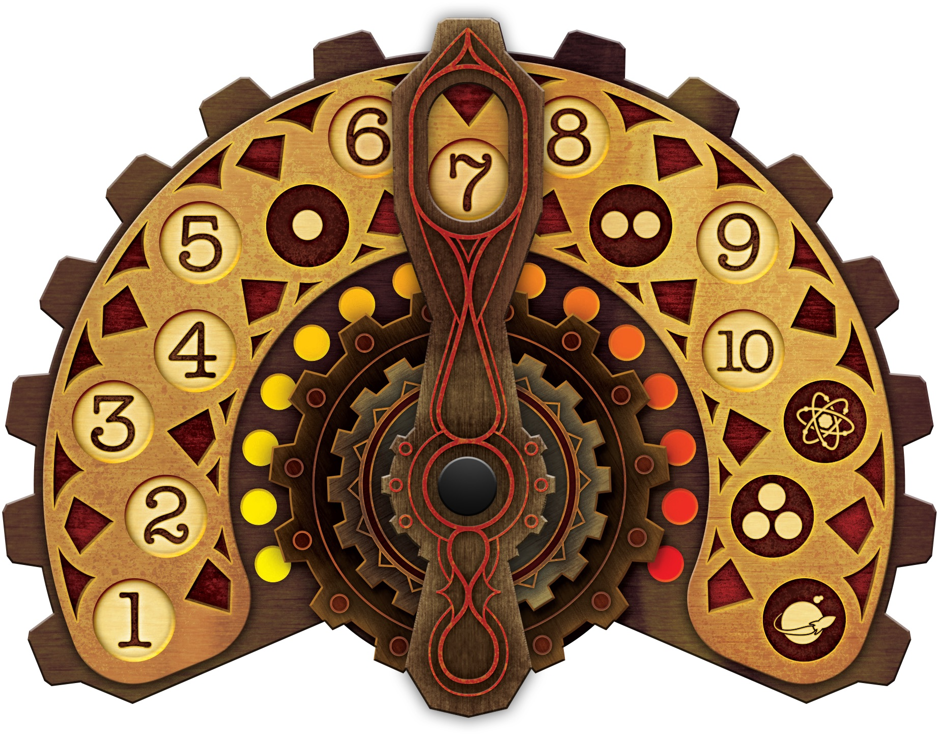 """The cardboard dial used to track rounds. The """"dot"""" rounds are resource production rounds."""