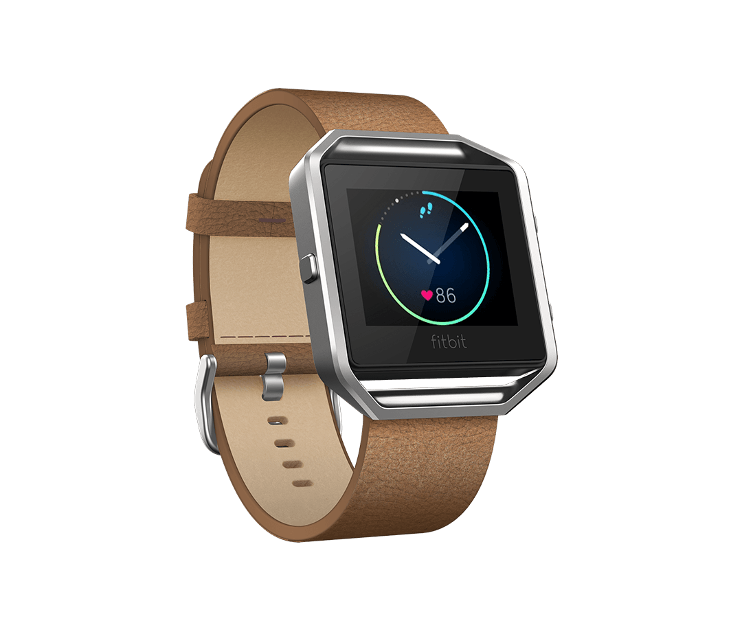Fitbit Blaze with a camel leather band.