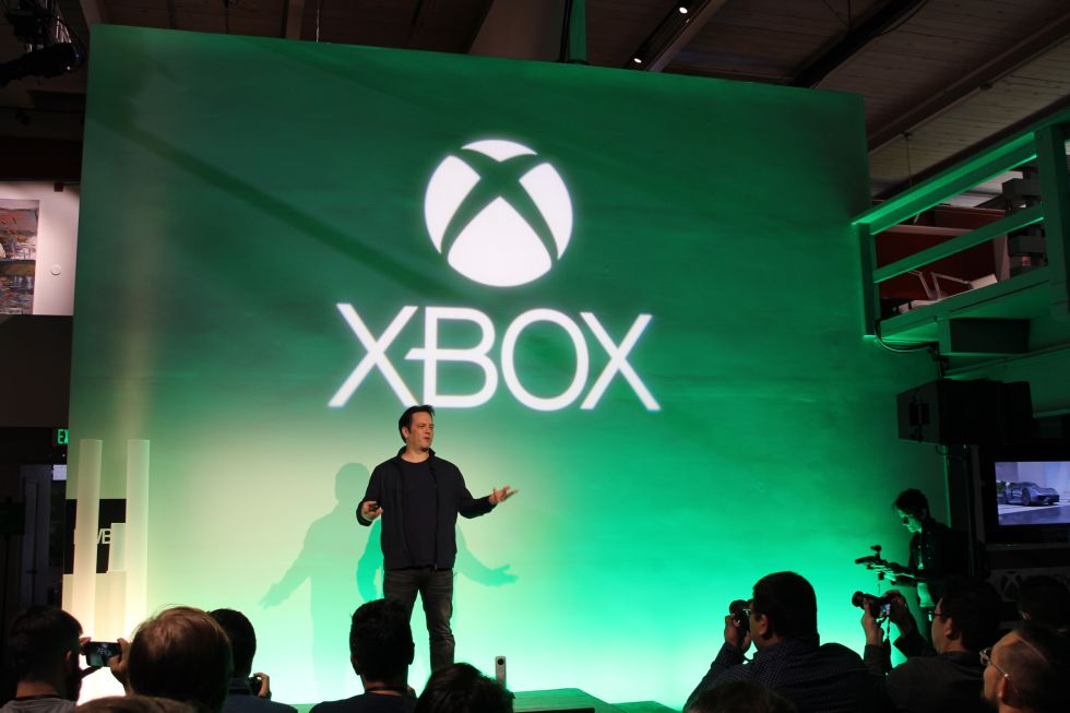 Phil Spencer addresses the Xbox spring showcase crowd on February 24.
