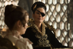 Lena Headey as Lady Catherine de Bourgh.